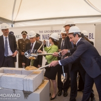 Michel and Marielle Moawad attend the groundbreaking of the Antoun Nabil Sehnaoui - SGBL athletics center in LAU Jbeil