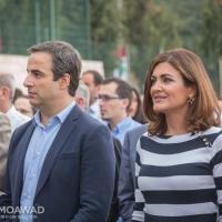 Michel and Marielle Moawad attending Rachel Edde public school inauguration in Sebeel