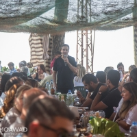 Michel and Marielle Moawad host a gathering for journalists in Ehden