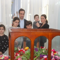 Michel Moawad and his family participating in the Good Friday ceremony in Zgharta