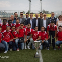 Michel Moawad congratulating Al Salam Zgharta football team for winning the Lebanese Cup