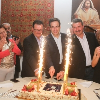 Michel Moawad hosts a dinner at his residence in Zgharta in honor of renowned Lebanese sculptors Nayef and Raymond Alwan