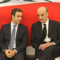 Michel Moawad paying condolences to Dr Samir Geagea