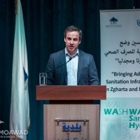 Michel Moawad speech during the delivery of 2 waste disposal trucks by the Rene Moawad Foundation to Zgharta municipaliy